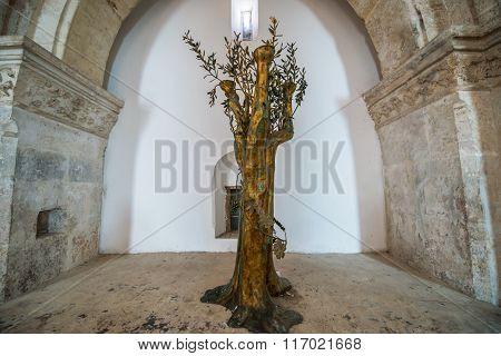 Jerusalem, Israel - October 22, 2015: Interior of the The Last Supper Room in Jerusalem