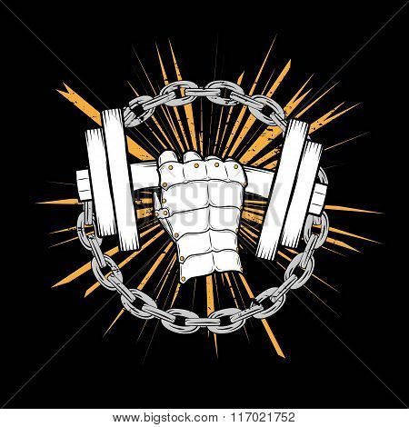 Vector Illustration Of An Iron Bodybuilding Hand Powerfully  Lifting Heavy Dumbbell On A Grungy Oran