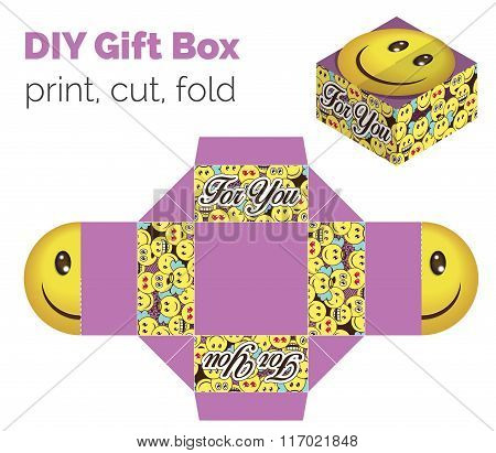 Lovely Do It Yourself Diy Smiling Expression Gift Box For Sweets, Candies, Small Presents. Printable