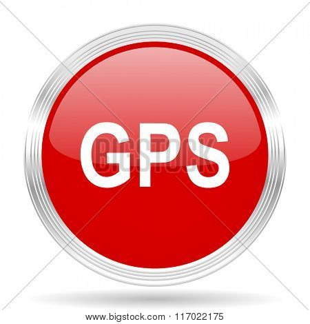 gps red glossy circle modern web icon on white background