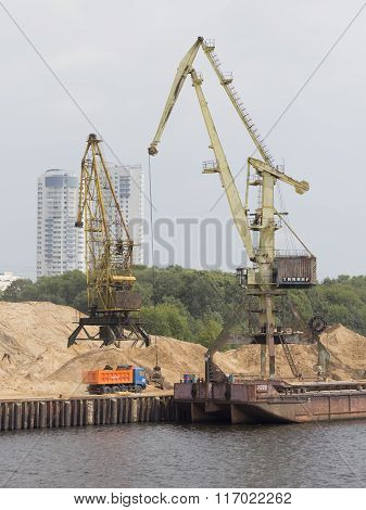 High Port Cranes In North Port In Moscow