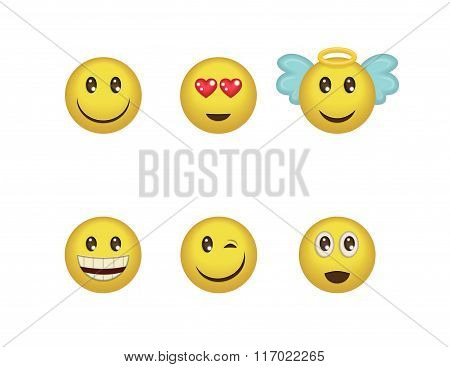 A Set Of Fun Positive Emoticon Expressions. Smile, Wink, Angel, Surprised, In Love, Laugh Smileys In