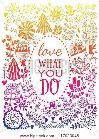 Floral card design, flowers and leaf doodle elements.