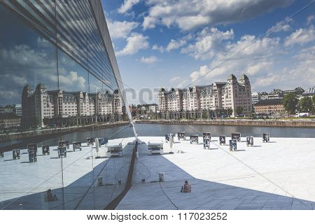 Oslo, Norway - July 09: View On A Side Of The National Oslo Opera House On July 09, 2014 In Oslo, No