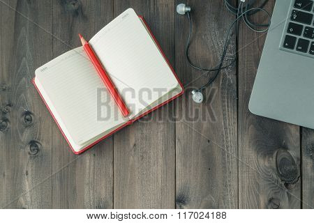 Open Blank Notebook On Wooden Table