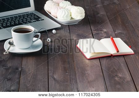 Notebook With Pen And Coffee