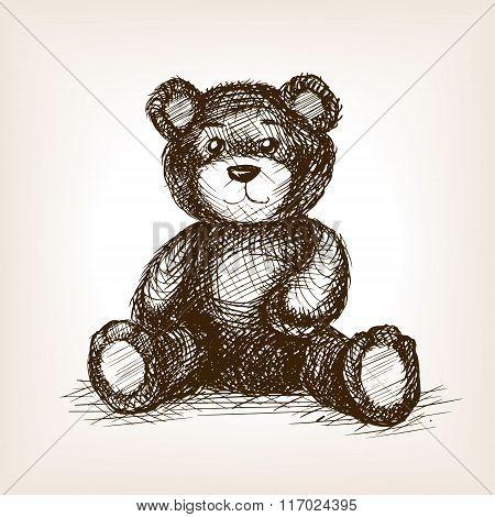 Teddy bear toy hand drawn sketch style vector