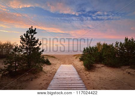 Baltic Sea Shore And A Road Through The Sand Dunes