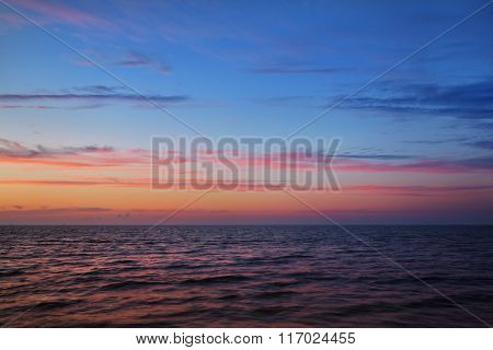 Sunset Baltic Sea Shore In Latvia With At The Pink Sunset