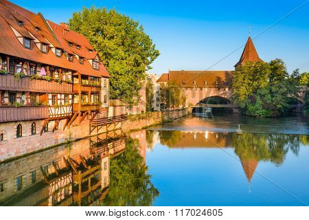 Nuremberg, Germany old town on the Pegnitz River.