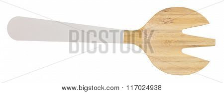 Wooden Fork Cutlery On A White Background