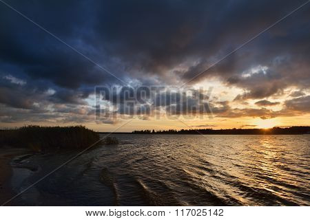 Sunset On The Lielupe River In Autumn