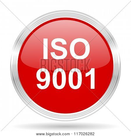 iso 9001 red glossy circle modern web icon on white background