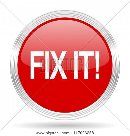 fix it red glossy circle modern web icon on white background