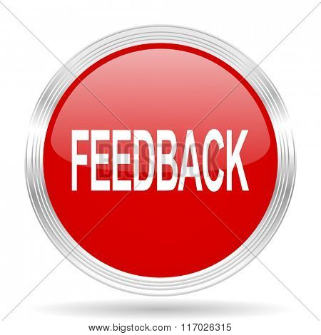 feedback red glossy circle modern web icon on white background
