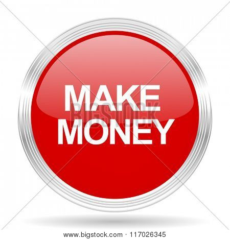 make money red glossy circle modern web icon on white background