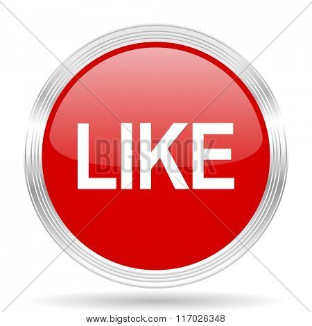 like red glossy circle modern web icon on white background