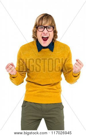 Portrait of hipster shouting on white screen