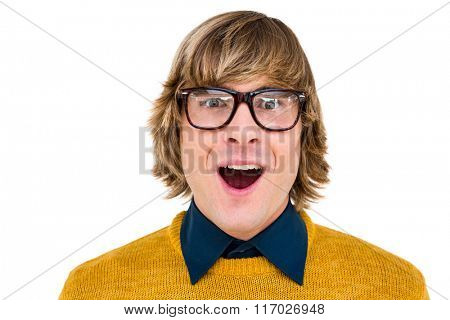 Portrait of surprised hipster businessman on white background