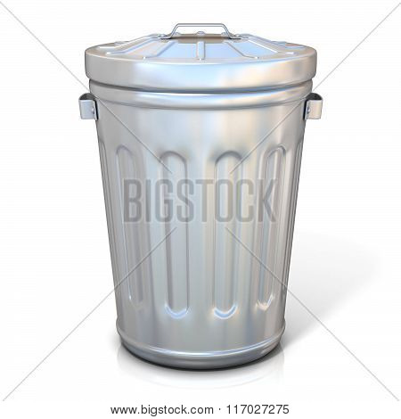 Steel trash can isolated. Front view