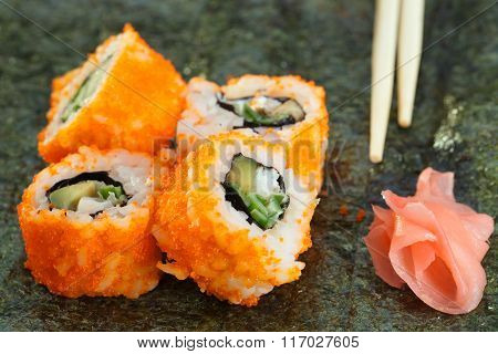 4 Pieces Of Sushi Roll On Nori