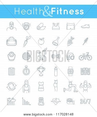 Fitness Gym And Healthy Lifestyle Flat Thin Line Vector Icons