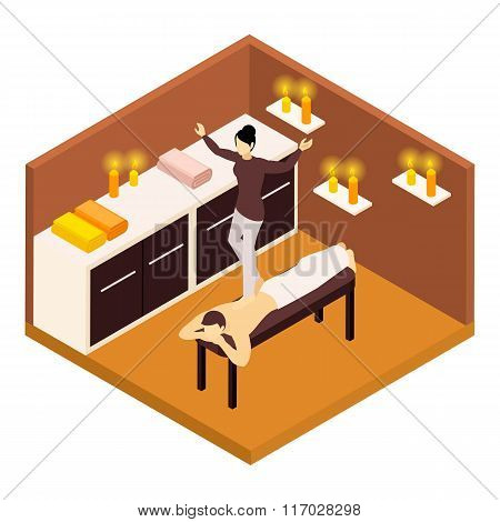Back Massage Isometric Illustration