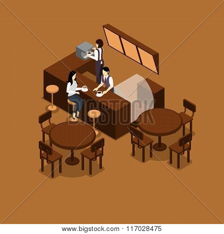 Waitress Isometric Illustration