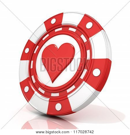 Red gambling chip with heart sign on it. 3D
