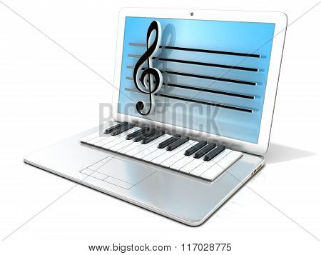 Laptop with piano keyboard. 3D rendering - concept of computer digitally generated music
