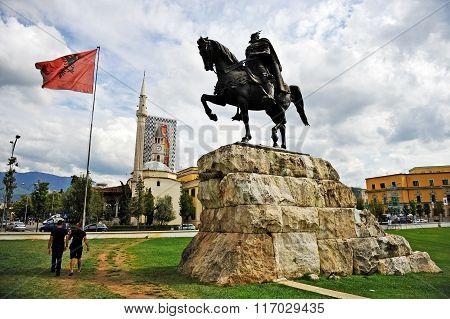 Statue Of Albanian National Hero Skanderbeg In Tirana