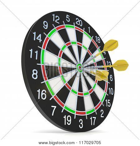 Dartboard with three orange darts on bullseye. Side view. 3D