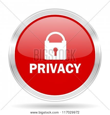 privacy red glossy circle modern web icon on white background