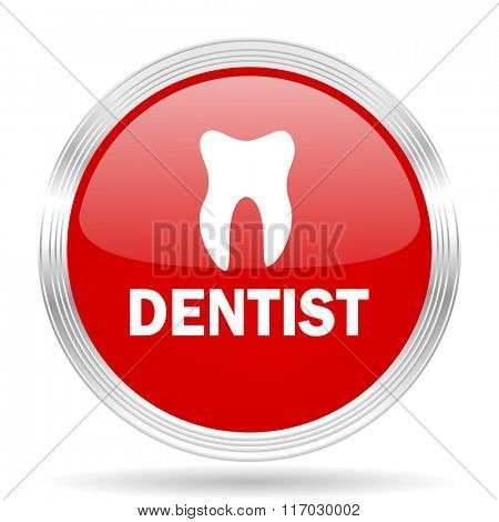 dentist red glossy circle modern web icon on white background