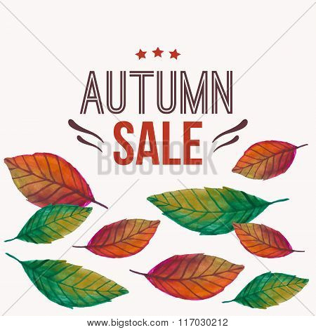Vector Illustration With Autumn Leaves And Typography Text