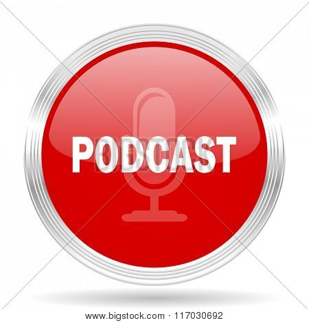 podcast red glossy circle modern web icon on white background