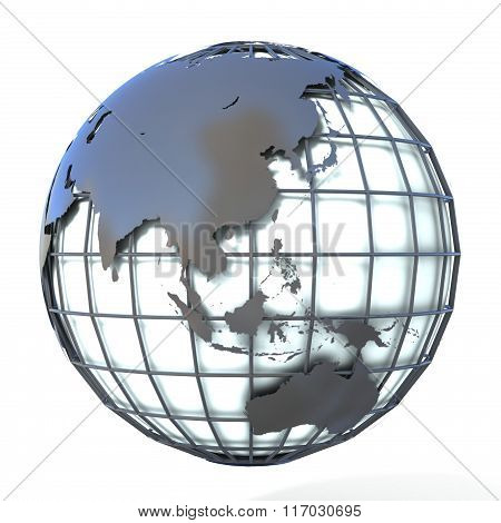 Polygonal style illustration of earth globe Asia and Oceania view