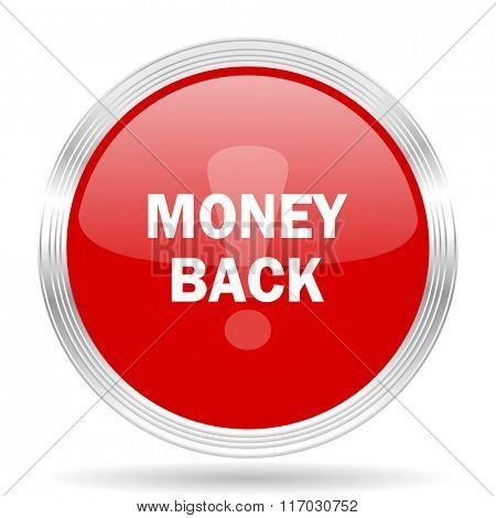 money back red glossy circle modern web icon on white background