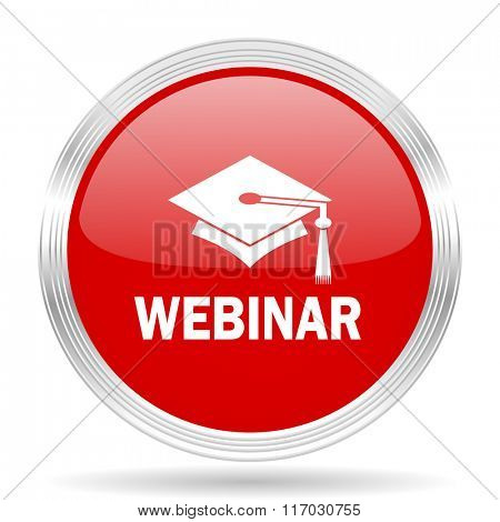 modern webinar red glossy circle modern web icon on white background