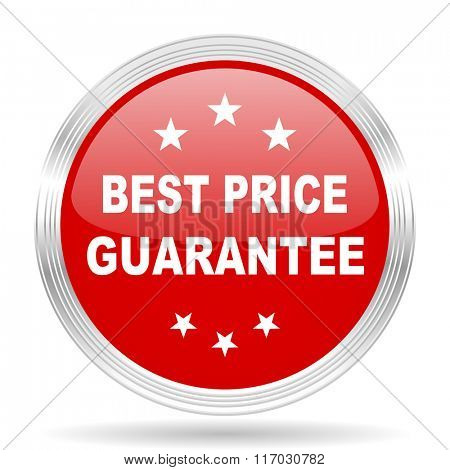 best price guarantee red glossy circle modern web icon on white background