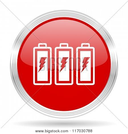 battery red glossy circle modern web icon on white background