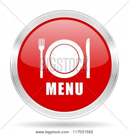 menu red glossy circle modern web icon on white background
