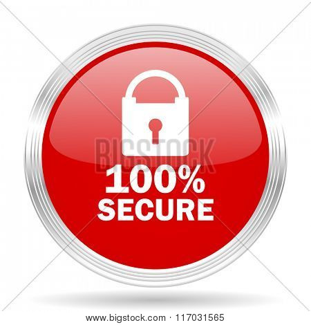 secure red glossy circle modern web icon on white background