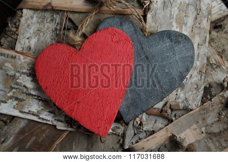 Wooden Hearts On Wood Background
