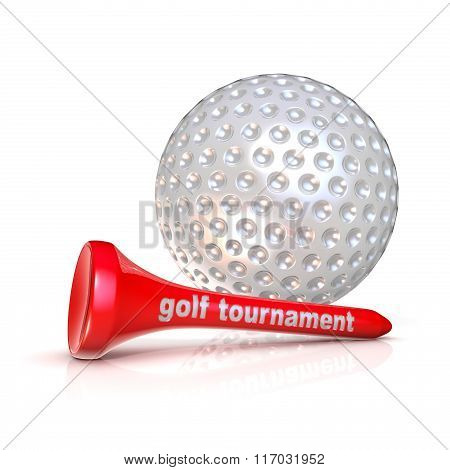 Golf ball and tee. Golf tournament sign