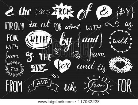 set of vintage hand sketched ampersands and catchwords