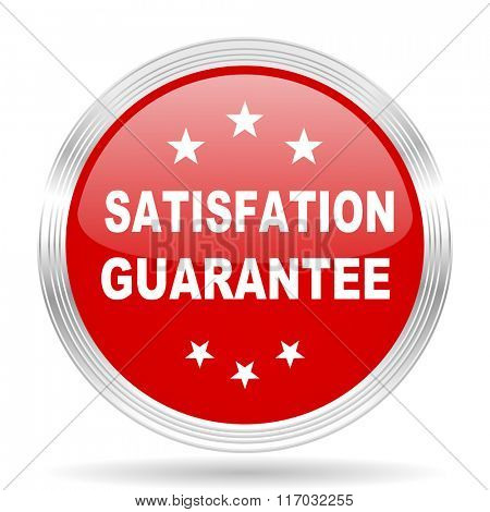 satisfaction guarantee red glossy circle modern web icon on white background