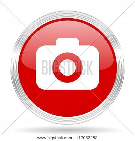 photo camera red glossy circle modern web icon on white background