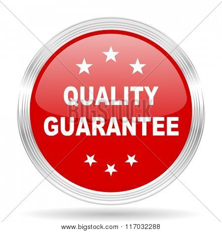 quality guarantee red glossy circle modern web icon on white background