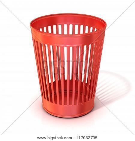 Empty red trash bin garbage can